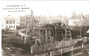 """De """"Werf bij Huis"""" met machinefabriek Fulton (gebouw 2e van links), foto J.P. Wortelboer"""